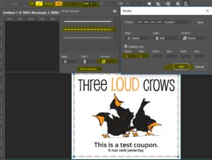 Three Loud Crows - Rectangle Tool Settings for Coupon