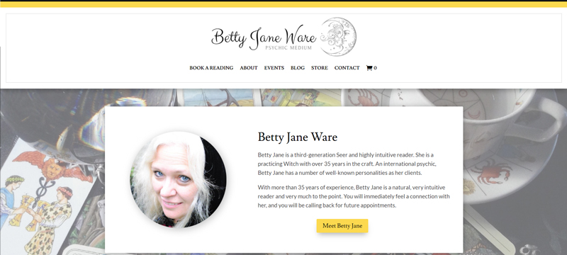 An image of Betty Jane Ware Website home page.